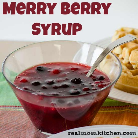 Tender SOur Cream Waffles with Merry Berry Syrup | realmomkitchen.com