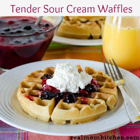 Tender Sour Cream Waffles | realmomkitchen.com