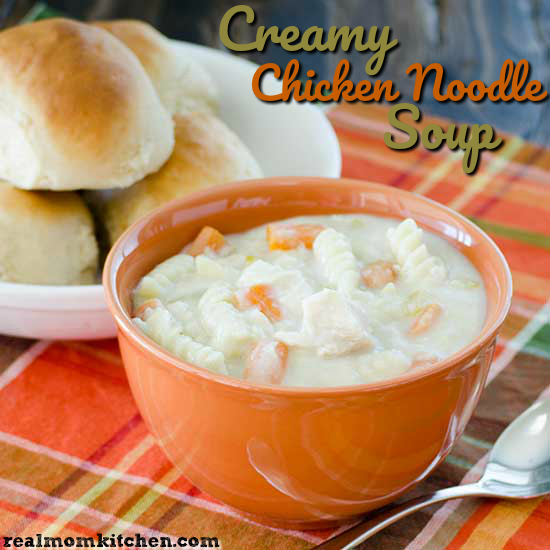 Creamy Chicken Noodle Soup | realmomkitchen.com