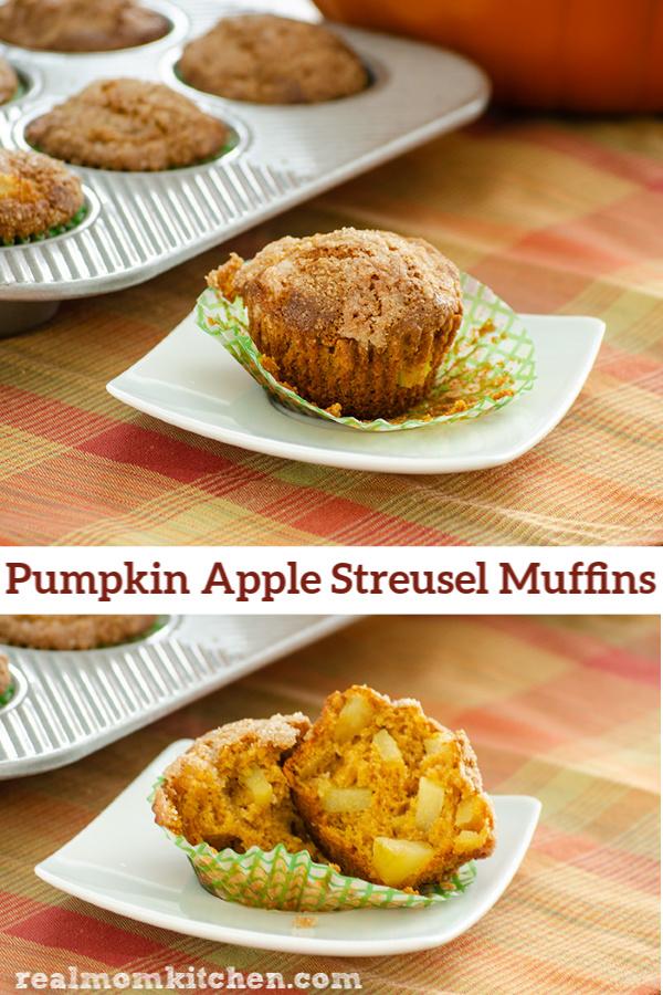 Pumpkin Apple Streusel Muffins   realmomkitchen.com