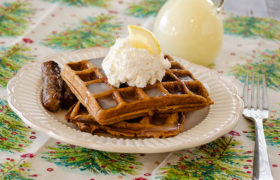 Gingerbread Waffles with Lemon Whipped Cream | realmomkitchen.com
