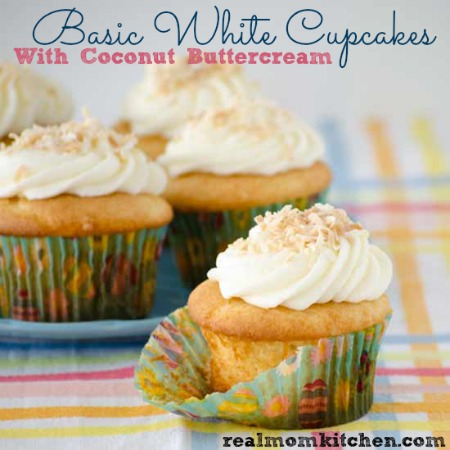 Basic White Cupcakes with Coconut Buttercream   realmomkitchen.com