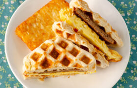 Biscuit Waffles Breakfast Sandwiches | realmomkitchen.com