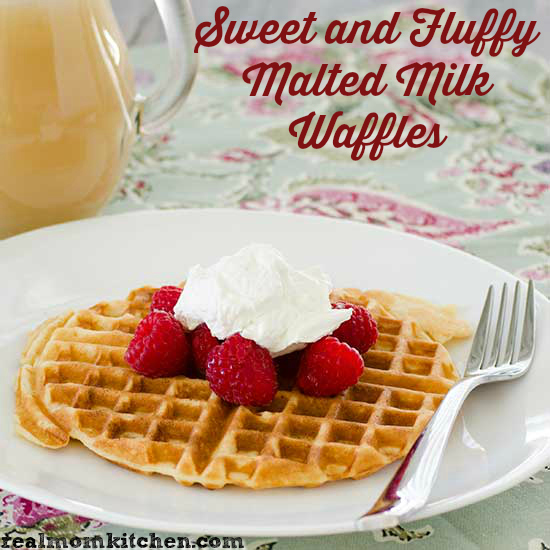 Sweet and Fluffy Malted Milk Waffles | realmomkitchen.com