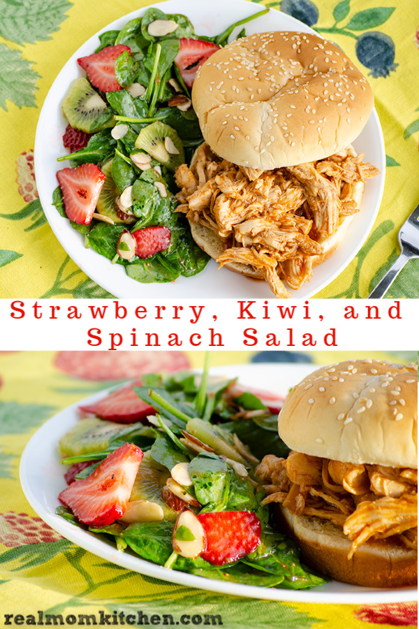 Strawberry, Kiwi, and Spinach Salad | realmomkitchen.com