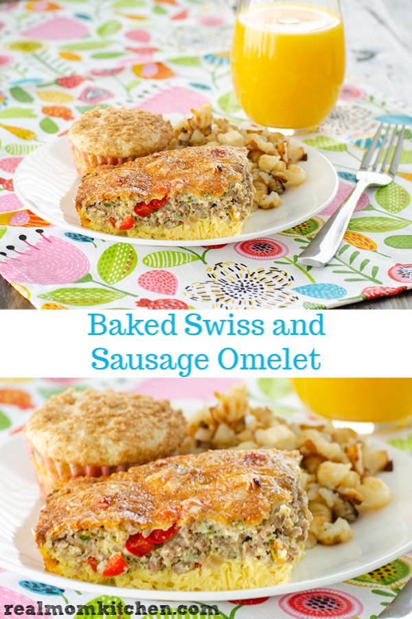 Baked Swiss and Sausage Omelet | realmomkitchen.com