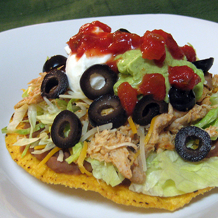 Chile Lime Chicken Tostadas in the slow cooker