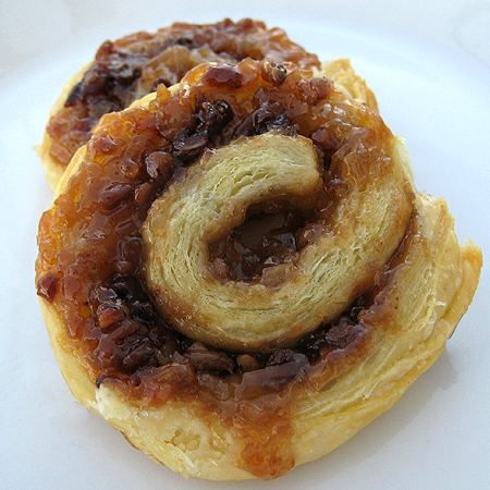 picture of puff pastry roll with coconut pecan chocolate filling