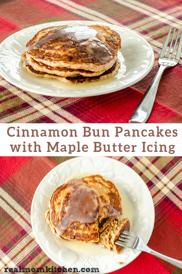 Cinnamon Bun Pancakes with Maple Butter Icing | realmomkitchen.com