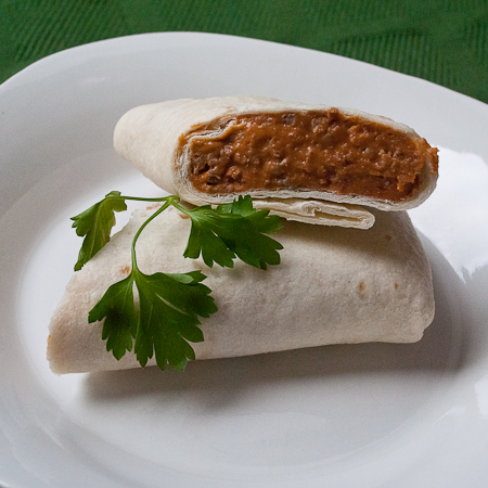 picture of beef and bean burrito