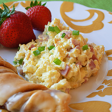 Egg Scramble With Ham And Peppers Recipe — Dishmaps