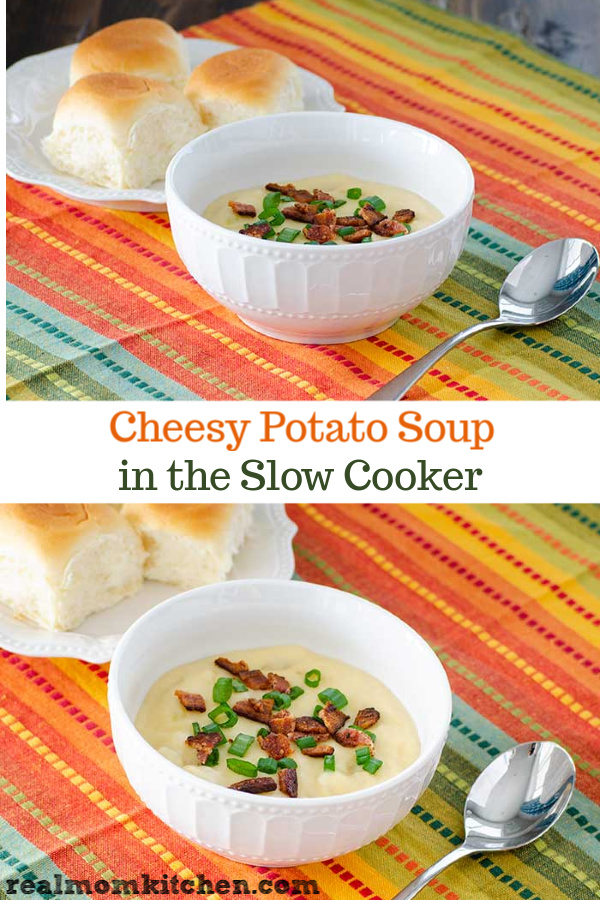 Cheesy Potato Soup in the Slow Cooker | realmomkitchen.com