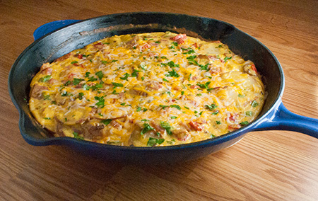 Ham, Potato, and Roasted Red Pepper Frittata | Real Mom Kitchen