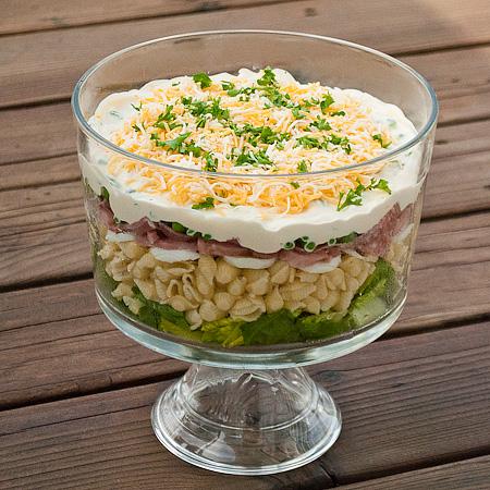 ... yummy layered salad recipes i love layered pasta salad and sarah salad