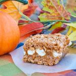Pumpkin Spice Caramel Filled Krispie Treats | realmomkitchen.com