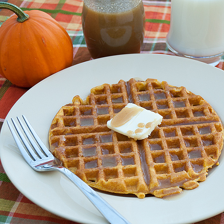 Pumpkin Waffles with Pumpkin Spiced Syrup | Real Mom Kitchen