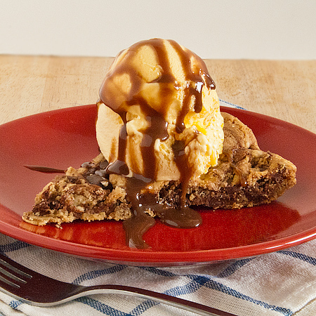 One Pan Skillet Cookie Pie with Chocolate Sauce | Real Mom Kitchen