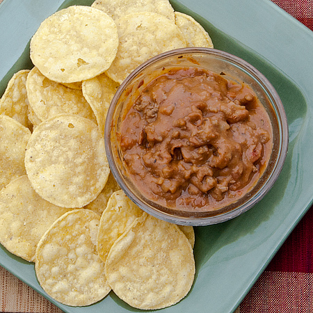 Beef and Bean Dip or Burrito Filling   Real Mom Kitchen: http://realmomkitchen.com/10965/beef-and-bean-dip-or-burrito-filling/