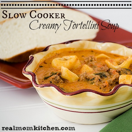 Slow Cooker Creamy Tortellini Soup | realmomkitchen.com