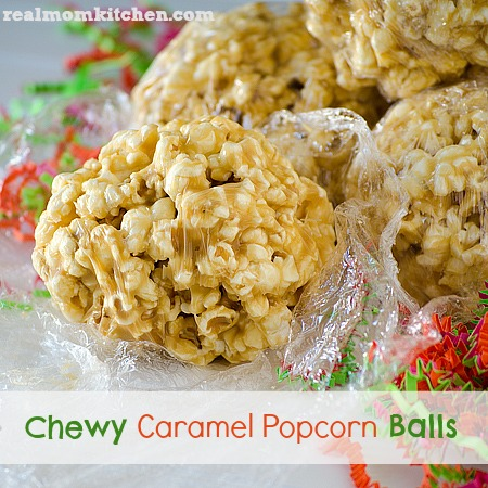 Chewy Caramel Popcorn Balls l realmomkitchen.com