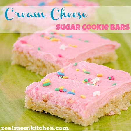Cream Cheese Sugar Cookie Bars l realmomkitchen.com