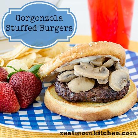 Gorgonzola Stuffed Burgers | realmomkitchen.com