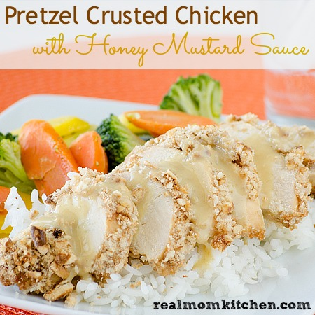 Pretzel Crusted Chicken with Honey Mustard Sauce | Real Mom Kitchen