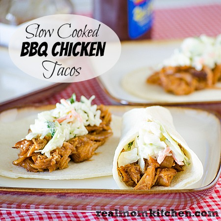 Slow Cooked BBQ Chicken Tacos | realmomkitchen.com