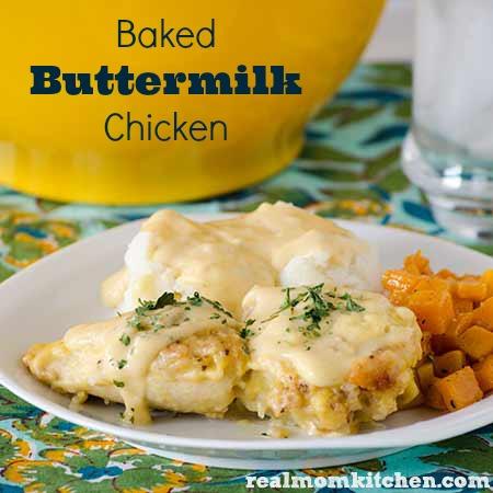 Baked Buttermilk Chicken   realmomkitchen.com