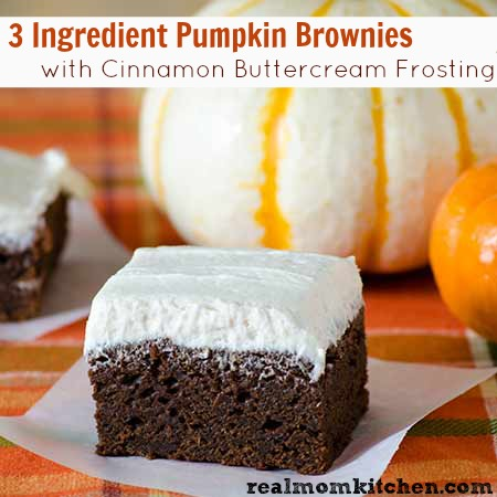 3 Ingredient Pumpkin Brownies with Cinnamon Buttercream Frosting | realmomkitchen.com