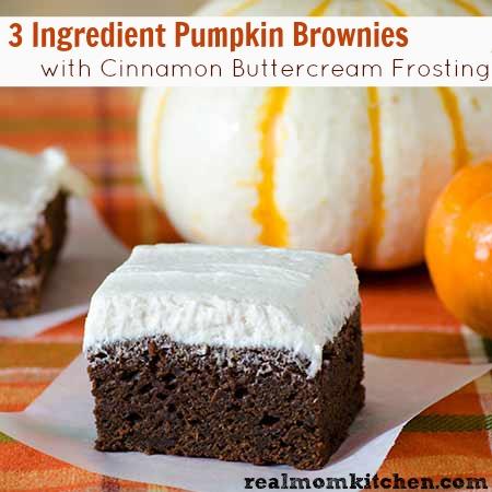 3 Ingredient Pumpkin Brownies with Cinnamon Buttercream Frosting | realmomkitchen.com