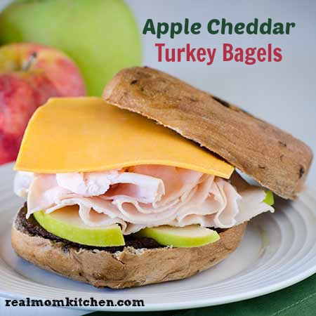 Apple Cheddar Turkey Bagel  | realmomkitchen.com
