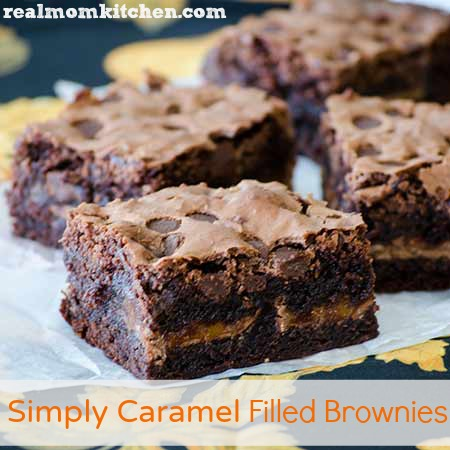 Simply Caramel Filled Brownies | realmomkitchen.com
