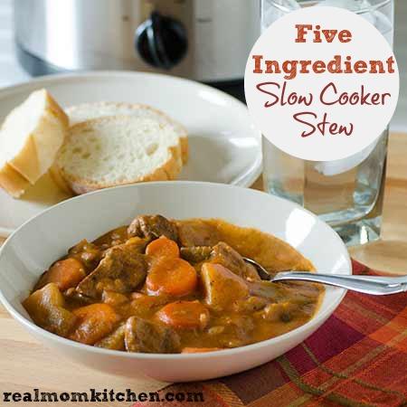 Five Ingredient Slow Cooker Stew   realmomkitchen.com
