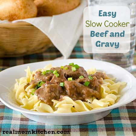 Easy Slow Cooker Beef and Gravy | realmomkitchen.com
