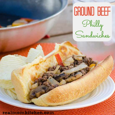 Ground Beef Philly Sandwiches | realmomkitchen.com