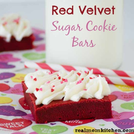 Red Velvet Sugar Cookie Bars | realmomkitchen.com