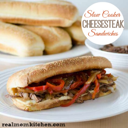 Slow Cooker Cheesesteak Sandwiches | realmomkitchen.com
