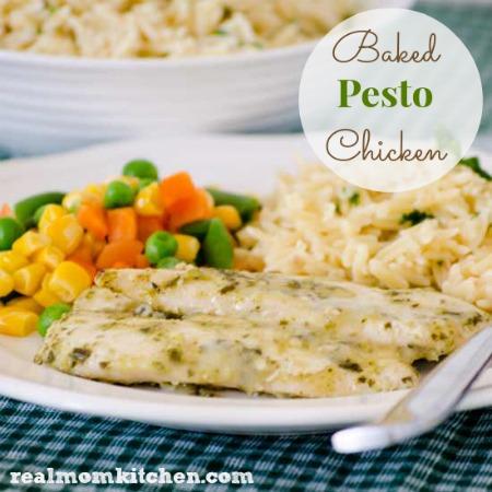 Baked Pesto Chicken   realmomkitchen.com
