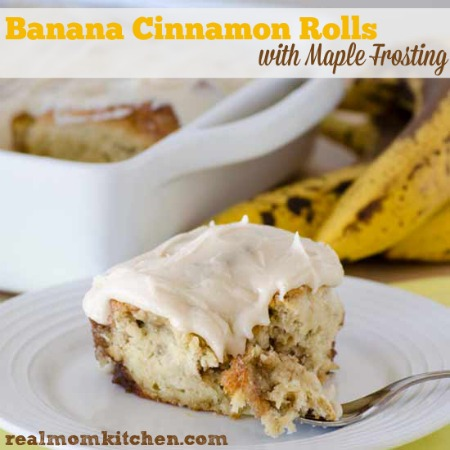 Banana Cinnamon Rolls with Maple Frosting labeled