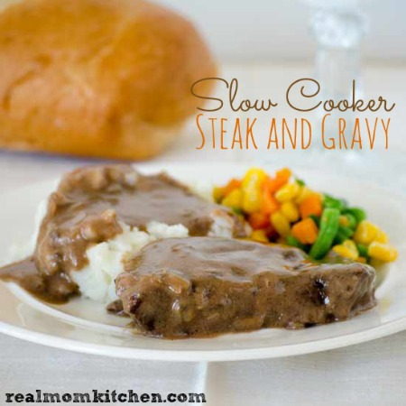 Slow Cooker Steak and Gravy |realmomkitchen.com