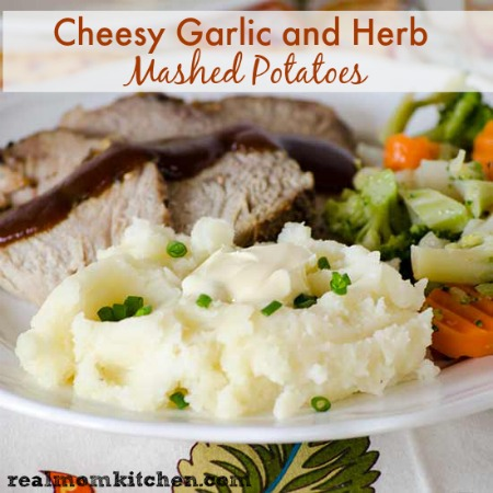 Cheesy Garlic and Herb Mashed Potatoes | realmomkitchen.com