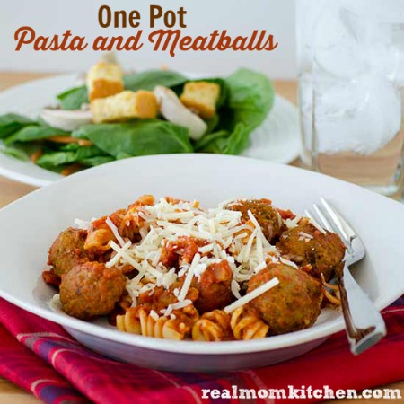 One Pot Pasta and Meatballs | realmomkitchen.com