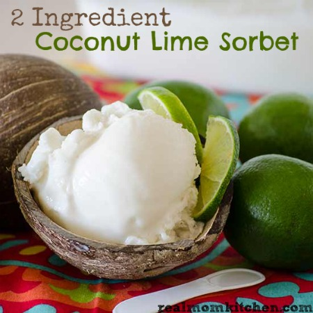 2 Ingredient Coconut Lime Sorbet | realmomkitchen.com