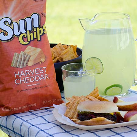 Hamburger and SunChips #SunChipsBBQ