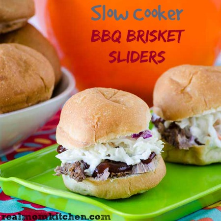 Slow Cooker BBQ Brisket Sliders | realmomkitchen.com