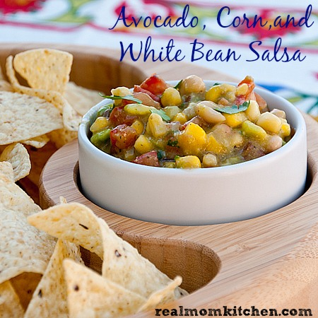 Avocado, Corn, and White Bean Salsa | realmomkitchen.com #TostitosTailgating