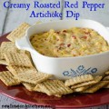 Creamy Roasted Red Pepper Artichoke Dip | realmomkitchen.com