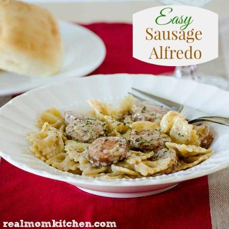 Easy Sausage Alfredo | realmomkitchen.com