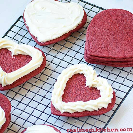 Heart Shaped Red Velvet Cookies | realmomkitchen.com